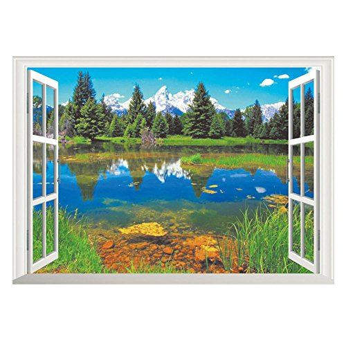 Charberry Home Decor Art Vinyl Fake Window New Mural Wall Decals Removable Stickers (Blue) - Removable Wall Decal