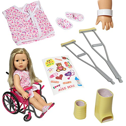 - Doll Wheelchair Set with Accessories for 18 Inch Dolls Like American Girl Dolls + Bonus Accessories