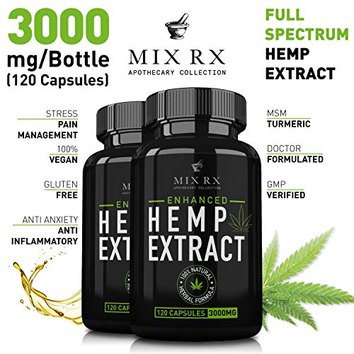(2 Pack) Hemp Oil Extract Powder Capsules for Pain Relief Anxiety Sleep (3000mg / 240 Pills) Best Natural Organic Hemp Seed Oil - Anti Inflammatory, Joint Support - 100% Pure Hemp Oils Supplements by Mix Rx (Image #1)