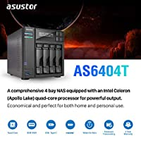 Asustor AS6404T | Network Attached Storage + Free exFAT License | 1.5GHz Quad-Core, 8GB RAM | Home or Business Data Media Server (4 Bay Diskless NAS)