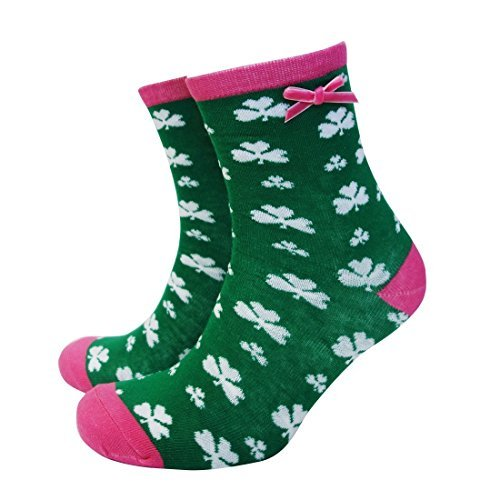 Green and Pink Trim Socks With White Shamrocks and Pink Ribbon