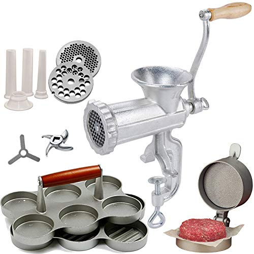 Tiger Chef Burger Master Supplies Set - Includes a Manual Meat Grinder and Sausage Stuffer, a Burger Express Hamburger Press with Patty Ejector, a Mini Burger Press, and 250-Piece Square Wax Papers