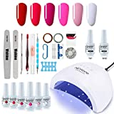 Gel Nail Polish Starter Kit, Speed Curing 48W Professional LED lamp Base Top - Best Reviews Guide