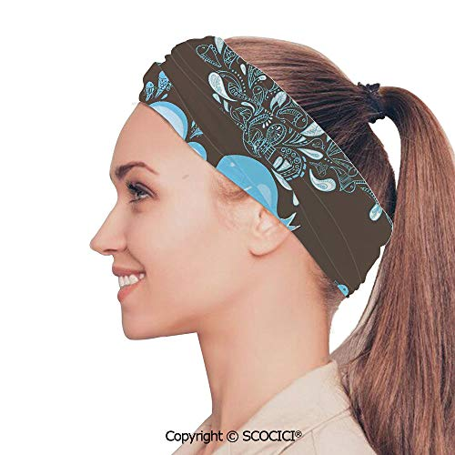 SCOCICI Stretch Soft and Comfortable W9.4xL18.9in Headscarf Headbands Baloon Like Whale in The Ocean with Bubbles Cartoon Batik Tribal Style Image,Blue and Brown Perfect for Running, Working Out, Yo ()