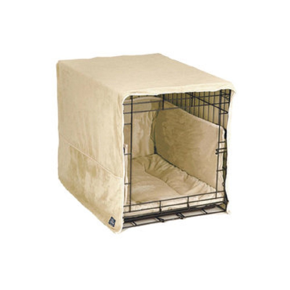 New Double Door 3 Piece Crate Bedding Set. THE ORIGINAL CRATE COVER, CRATE PAD AND BUMPER JUST GOT BETTER! X-Large Fits 42'' Midwest Crate - Ivory by Pet Dreams