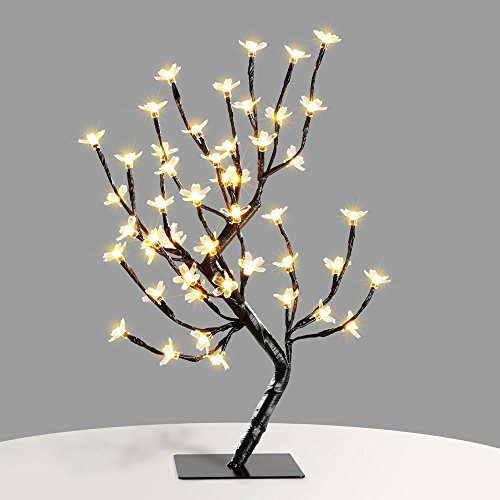 Zanflare 0.45M/17.72Inch 48LEDs Cherry Blossom Desk Top Bonsai Tree Light, Black Branches, Perfect for Home Festival Party Wedding Christmas Indoor Outdoor Decoration (Warm White) Christmas Decorations For Pubs