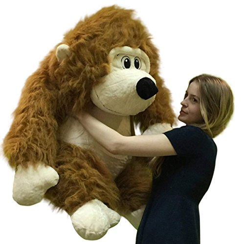 Stuffed Gorilla Long Brown Fur Big Plush Gorilla Ape 30 inches Soft