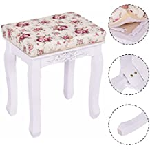 White Vanity Wood Dressing Stool Padded Chair Makeup Piano Seat With Cushion New