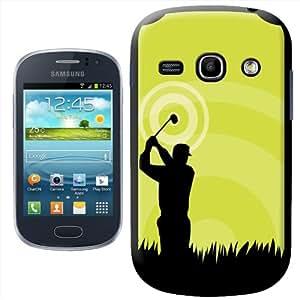 Fancy A Snuggle - Carcasa rígida para Samsung Galaxy Fame S6810, diseño de silueta de golfista, color negro y verde