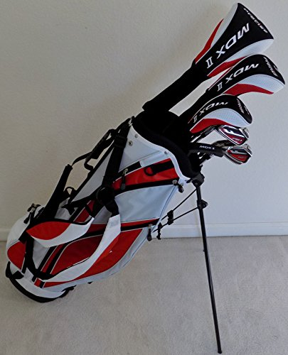 New Mens Left Handed Complete Golf Club Set Driver, Fairway Wood, Hybrid, Irons, Putter & Stand Bag Regular Flex LH