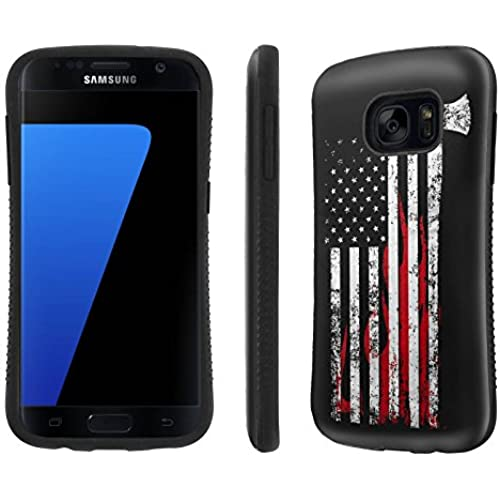 Galaxy [S7] Tough Designer Case [SlickCandy] [Black Bumper] Ultra Shock Absorbent - [Fire Fighter Axe Flag] for Samsung Galaxy S7 / GS7 Sales