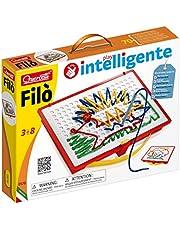 Quercetti 0570 rijgspel Filo 0570 draadspel, inclusief sjablonenboek, draadsnoeren en opbergdoos, kleurrijk