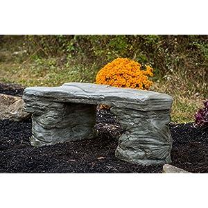 Cast Stone Petrified Rock Bench, Outdoor Garden Bench, Sandstone Patio Chair, 3 Piece Hand Sculpted Rustic Garden Bench, Outdoor Decor