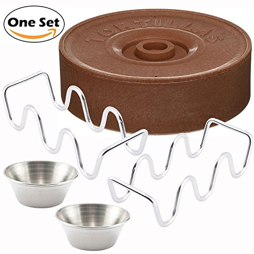 - Taco Party Server Set - Winco Tortilla Warmer, Stainless Steel Taco Holder and Sauce Cup