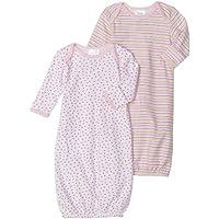 Spasilk Girls Gown 2 Pack - Dot Print/Multi Stripe Print, Pink, 0-3 Months