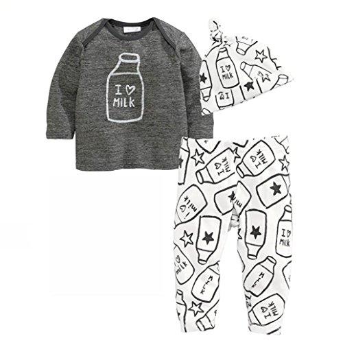 DEESEE(TM) 1Set Baby Outfit Clothes Long Sleeve Printing T-Shirt+Long Pants+Hat (70)
