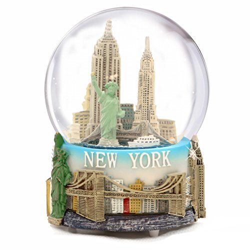 (Musical New York City Snow Globe with Statue of Liberty, Empire State Building, Landmarks, 100mm New York City Snow Globes, 6 Inches Tall, PLAYS