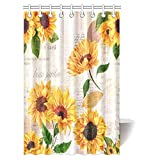 InterestPrint Vintage Style Floral Shower Curtain, Vibrant Yellow Watercolor Sunflowers on the Background of Old Letters and Newspaper Fabric Bathroom Shower Curtain Set with Hooks, 48 By 72 Inches