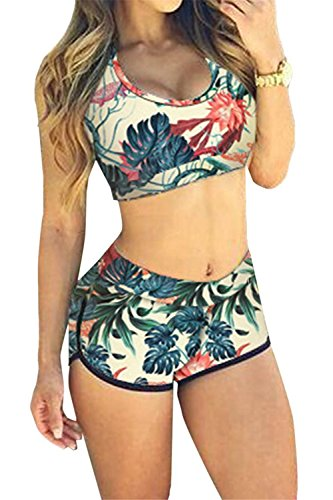 Labaqiangj Bikini Fashionable Women's 2016 Bandage Sporty Bathing Suit Boyleg Short Swimwear Swimsuit PlantS-US0-2