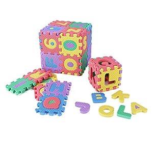 CHICTRY 36 Tiles EVA Foam Mat Soft Alphabet Number Foam Floor Interlocking Puzzle Mat Colorful Kids Play & Exercise Foam Mats