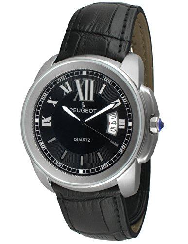 Peugeot Men's 2045SBK Round Stainless Steel Leather Analog Display Quartz Black Watch