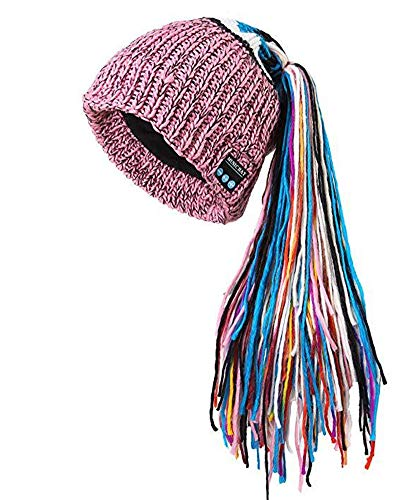 OWIKAR Winter Unisex Bluetooth Beanie Hat Warm Dreadlocks Cap w/Wireless Headphone Headset Earphone Stereo Speaker Mic Hands Free for Outdoor Sport Skiing Snowboard Skating Hiking Camping (Pink)