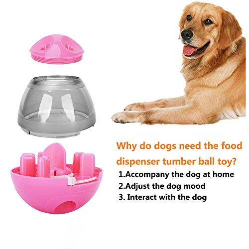 2 Pack Dog/Cat Pet Treat Ball Interactive Toys Tumbler Design,Food Dispensing Tumbler Toy:Increases IQ and Mental Stimulation Pink and Green by Garmaker (Image #1)