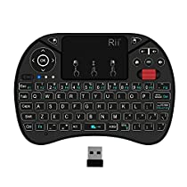(2018 New Backlit)Rii i8X Wireless keyboard with Multi-media PortableTouch Scroll button,Handheld Remote,LED Backlit ,Rechargeable for Raspberry Pi 2/3,KODI,Android TV Box,Projector, HTPC, Windows 7 8 10