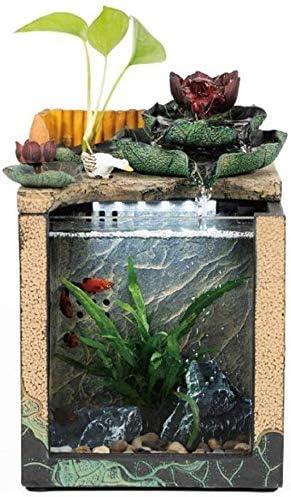 水槽の装飾デスク水族館テーブル水槽インテリア装飾加湿自然の風景家の装飾屋内噴水(サイズ:18.5x17x27cm)