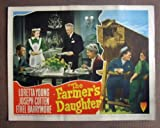 img - for ORIGINAL LOBBY CARD: DJ14 FARMERS DAUGHTER Loretta Young/Cotten/Barrymore LC. Here s a terrific lobby card from the original release of FARMERS DAUGHTER featuring a great image of LORETTA YOUNG, JOSEPH COTTEN and ETHEL BARRYMORE. Lobby card is in excellent plus condition. One pinhole only, no stains, no tears, small piece of brown paper masking on back of card. A lobby card is an 11 x 14 inch placard advertising a movie. They were displayed in the theatre lobby to entice moviegoers to go to the box office and buy a ticket. book / textbook / text book