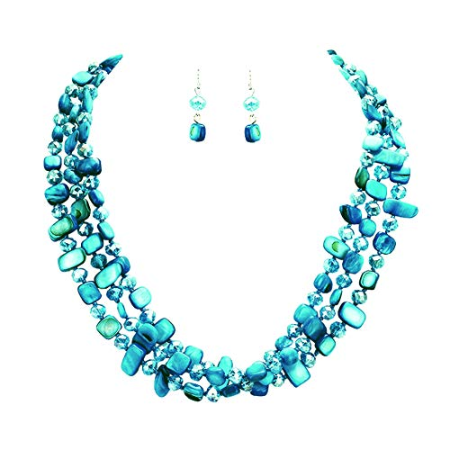 "Hush Variegated Bright Teal Blue-Green 3 Strand Knotted Shell & Glass Bead Layer Bib Necklace 17"" w/Earrings"