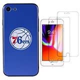 Sportula NBA Phone Case give 2 Tempered Glass Screen Protectors - Extra Value Kit for iPhone 8 / iPhone 7 (Philadelphia 76ers)