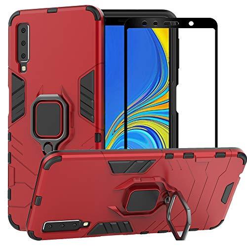 BestMX Funda para Samsung Galaxy A7 2018 Case Protector de Pantalla de Cristal Templado, Híbrida Rugged Armor Choque...