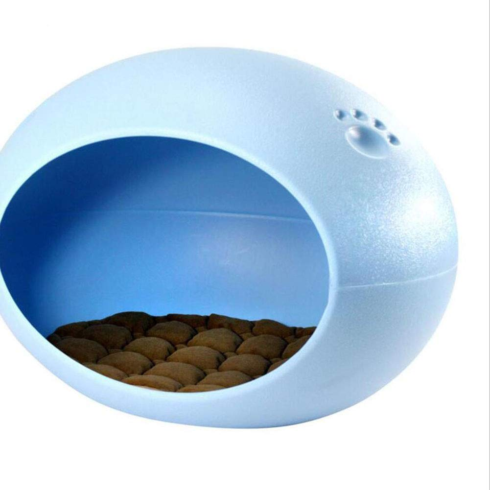 bluee Pet Supplies Pet Nest  Oval Egg Shaped Doghouse Cat House Four Seasons Dog Supplies Pet Bed Plastic Mprove Sleep and Carry (color   bluee)