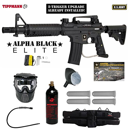 MAddog Tippmann U.S. Army Alpha Black Elite Tactical w/E-Grip Silver Paintball Gun Package - Black