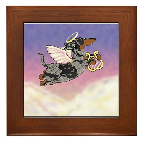 CafePress - Silver Dapple Dachshund Angel Framed Tile - Framed Tile, Decorative Tile Wall Hanging