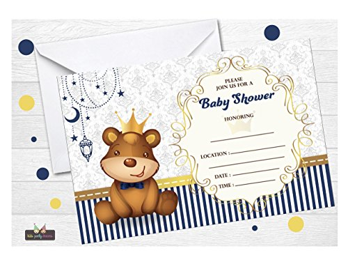 ions Baby Shower 12 pcs - Prince Bear Baby shower - Free Envelopes ()