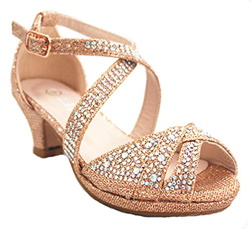 Girls Jewel - Link SF Riley-79K Girls Youth Pageant Jewel Rhine Stone Mary Jane High Heel Dress Shoes (12 M US, Rose Gold-Open)