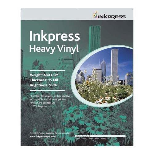 """Inkpress Heavy Vinyl Signage Media, Heavy Weight 15mil Vinyl Scrim Banner Material, for Indoor / Outdoor Use, 17""""x40"""