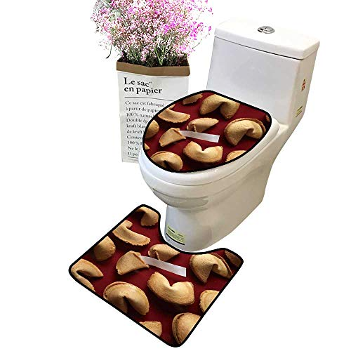 (Bathroom Rug Toilet Sets Fortune Cookies on re backgroun White bl k Paper Skidproof Bath Mat and Toilet lid)