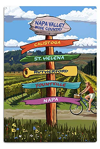 Napa Valley Decor - Lilyanaen New Great Napa Valley Wine Country California Destination Sign Aluminum Wall Sign Wall Decor Ready to Hang for Outdoor & Indoor 12 x 18 in