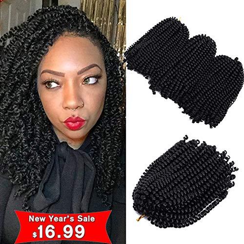 3Pcs/lot Spring Twist Ombre Colors Crochet Braids Bomb Twist Hair Synthetic Braiding Hair Extensions Low Temperature Fiber (8inch, 1B)
