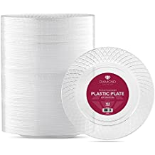 DIAMOND CLEAR PLASTIC PARTY DISPOSABLE PLATES | 6 Inch Hard Round Wedding Dessert Plates, 102 Ct | Elegant & Fancy Heavy Duty Party Supplies Plates for Holidays & Occasions
