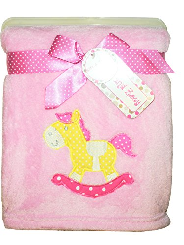 - Zak & Zoey Ultra Soft Embossed Plush with Applique Baby Blanket (Rocking Horse Pink)
