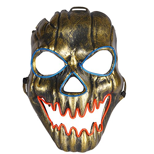 Rave Costumes Men (Cece LED Skull Mask Light Up Halloween Cosplay Rave Costume Party Show)