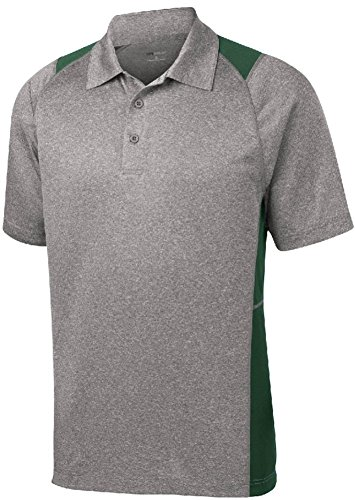 DRI-EQUIP Moisture Wicking 2-Color Athletic Polo, Large, Heather and Forest Green