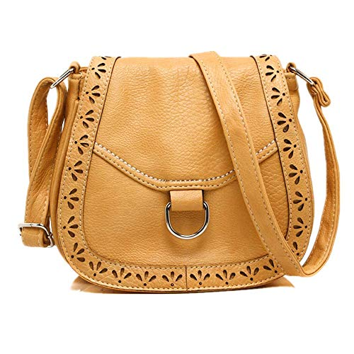 Woman's Art Literature Style Forest Brown Bolso Ancient Pastoral Ginger De And One Department Fan Women's Dark Mano Qingxin Restoring Crossing Shoulder Carved Bag waFFq7