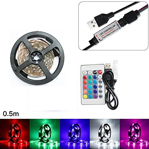Jonerytime 50-200CM USB LED Strip Light TV Back Lamp 5050RGB Colour Changing+Remote Control (Waterproof, 50CM)