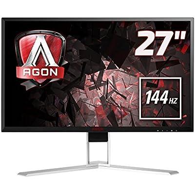 AOC AGON AG271QX 27  LED QHD  2560x1440  Freesync 144Hz 1ms Gaming monitor with Built-in speakers   VGA  DVI  HDMI DisplayPort  USB 3 0 Black Red