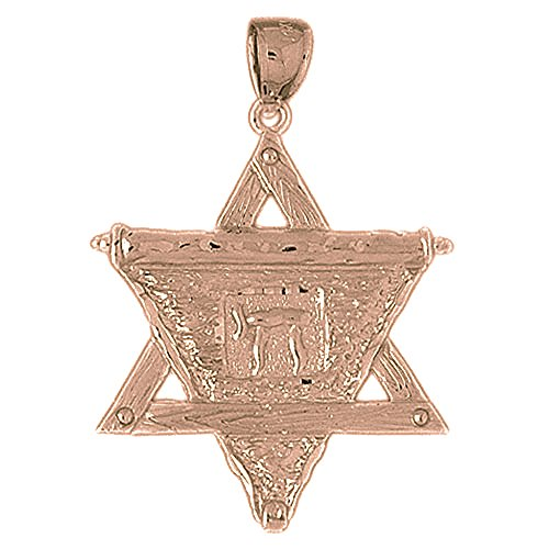 Rose Gold-plated Silver 41mm Star of David with Chai Pendant